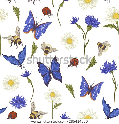 Summer Vintage Seamless Pattern with Blooming Chamomile Daisies Ladybird Cornflowers, Bumblebee Bee and Blue Butterflies. Vector Illustration on White Background - stock vector