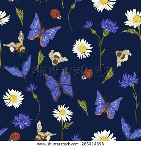 Summer Vintage Seamless Pattern with Blooming Chamomile Daisies Ladybird Cornflowers Bumblebee Bee and Blue Butterflies. Vector Illustration on Dark Background - stock vector