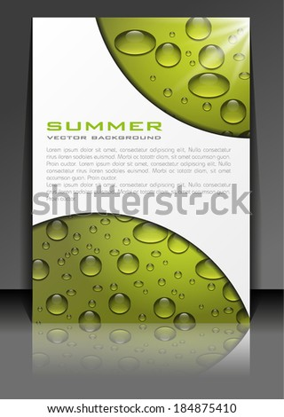 summer water drops vector background - stock vector