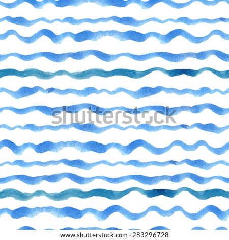 Summer Watercolor seamless pattern border.Blue cyan horizontal strips.Water, sea ,ocean wave.Hand drawing painting background.For Backdrop,background,fabric,Wallpaper.Vector travel, vacation design.  - stock vector