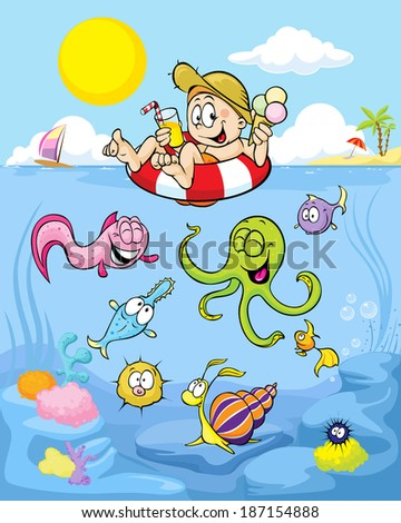 summer well being with funny boy, palm beach, windsurfing and sea animals - stock vector