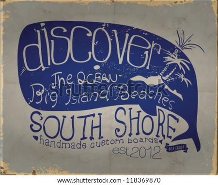 Summer whale beach sketch  for apparel.Vector illustration. - stock vector