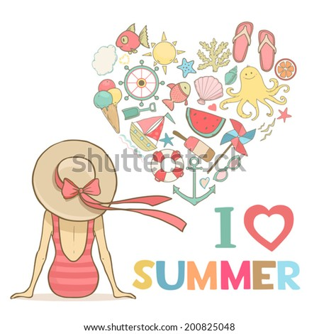 Summer woman in hat, I love summer art. Cute vector illustration - stock vector