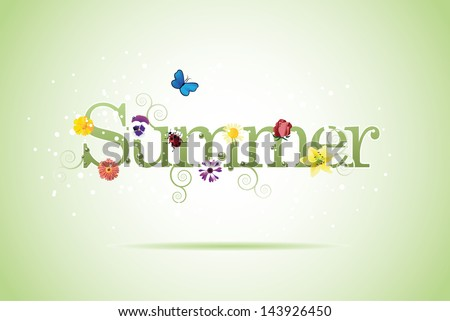 Summer word with flowers, swirls and butterflies. EPS 10 vector, grouped for easy editing. No open shapes or paths.