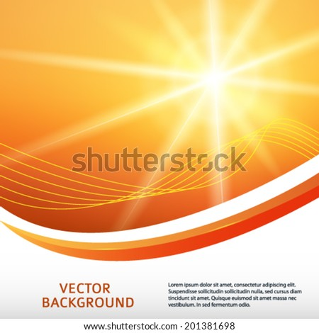 Summer yellow orange background with  rays sun light burst. Hot with space for your message. Vector illustration EPS 10 for design presentation / brochure layout page / cover book or magazine  - stock vector