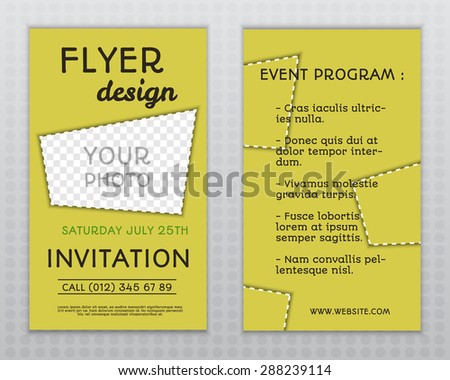 Summer Yellow Stylish Flyer And Brochure Invitation Template With Unusual  Design. Corporate Identity. Isolated  Corporate Invitation Template