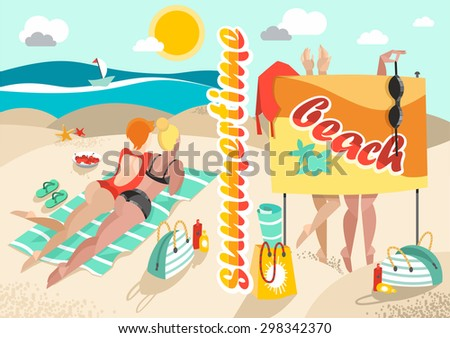 Summertime background with girls on a summer beach, sea, vector illustration - stock vector