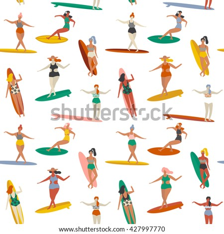 Summertime beach fun seamless pattern in vector. Surfer flat illustration. - stock vector