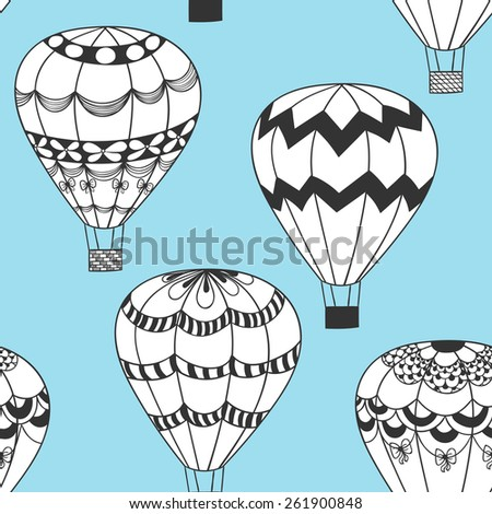 Summertime concept seamless pattern in doodle style. Cute hot air balloons zentangle  background in vector. - stock vector
