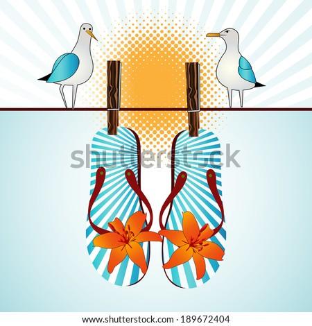 Summertime flipflops seagulls sunshine  - stock vector