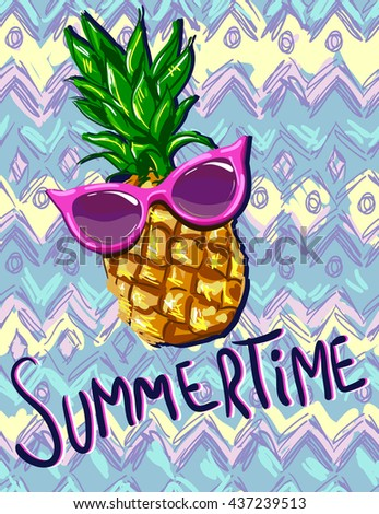 pineapple with sunglasses clipart. summertime vector illustration, pineapple with sunglasses tropical the idea for summer clipart c