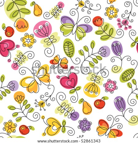 summery floral background - stock vector