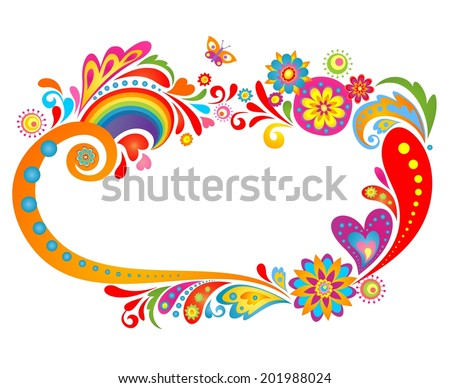 Summery floral frame - stock vector