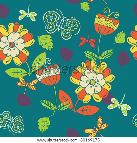 summery floral seamless pattern