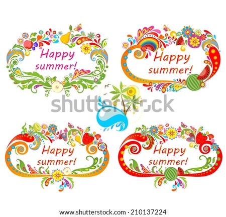 Summery frames with fruits - stock vector