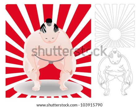 sumo, japan wrestler in front of red ray with out line version - stock vector