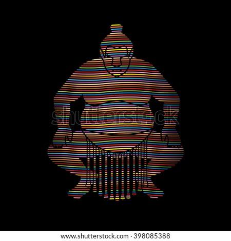 Sumo silhouette, designed using line rainbows graphic vector. - stock vector