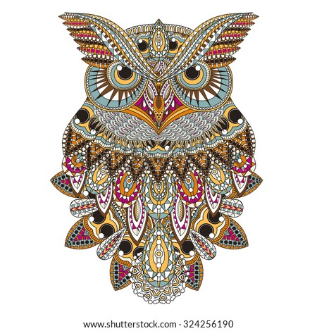 sumptuous owl coloring page in exquisite style - stock vector