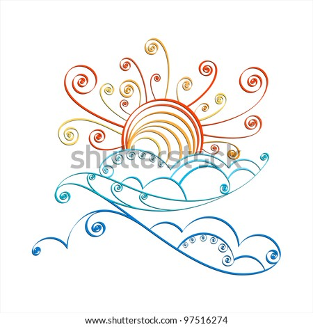 Sun and cloud, isolated on white background - stock vector