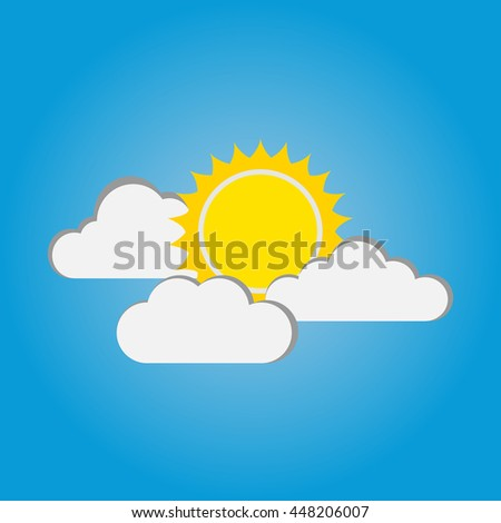 sun and cloud on blue background
