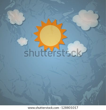Sun and cloud retro grunge background vector illustration