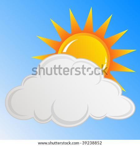 Sun and cloud Vector - stock vector