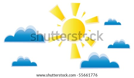 Sun and clouds - stock vector