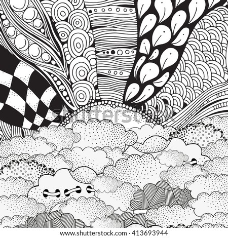 Airplane Flying Above Clouds Flying On Stock Illustration