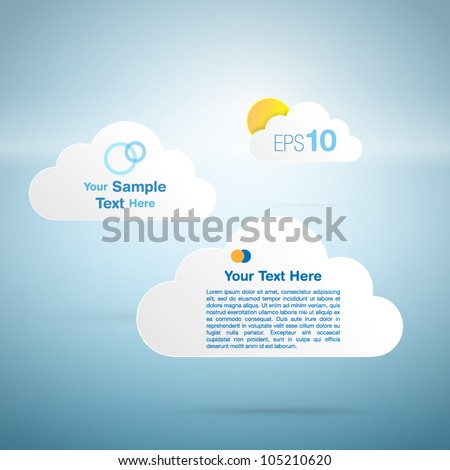 Sun and clouds - vector design