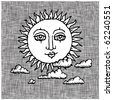 sun and clouds woodcut - stock photo