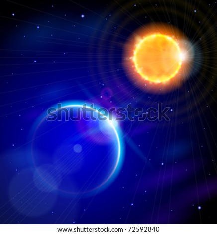 Sun and Earth in the depths of space.  Eps10 - stock vector