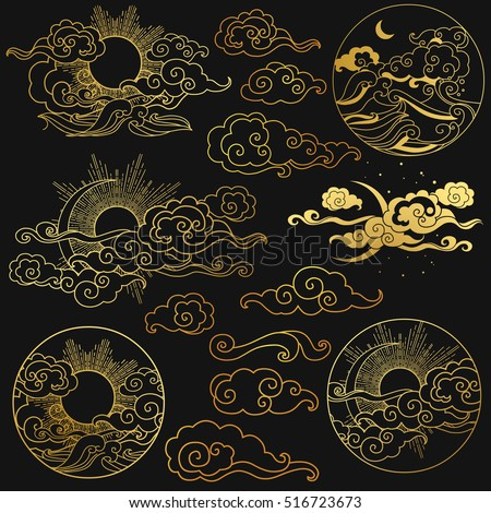 Sun and moon in the sky over the sea. Collection of decorative graphic design elements in oriental style. Vector hand drawn illustration