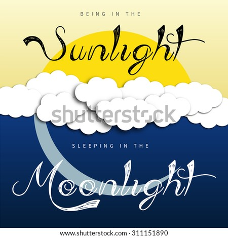 Sun and Moon theme, background with sunlight and moonlight - stock vector
