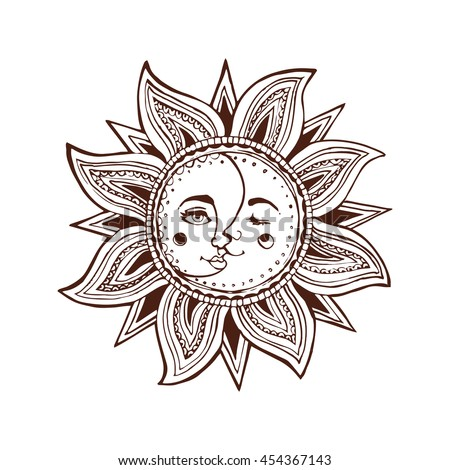 Sun And Moon With Face Decorative Hand Drawn Illustration