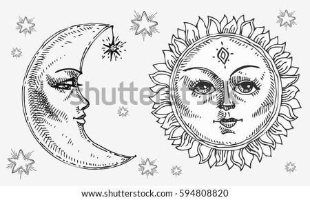 Sun And Moon With Face Stylized As Engraving Can Be Used Print For T