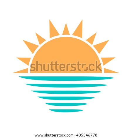 Sun and sea symbol. Vector illustration
