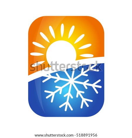 Sun Snowflake Symbol Air Conditioning Business Stock Vector Hd