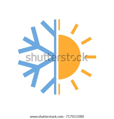 Sun Snowflake Symbol Air Conditioner Vector Stock Vector 2018