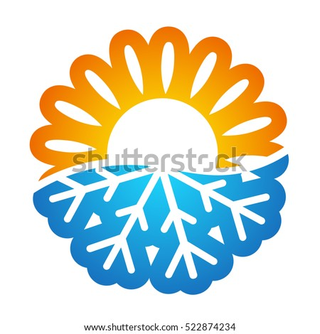 Sun and snowflake symbol vector air conditioning