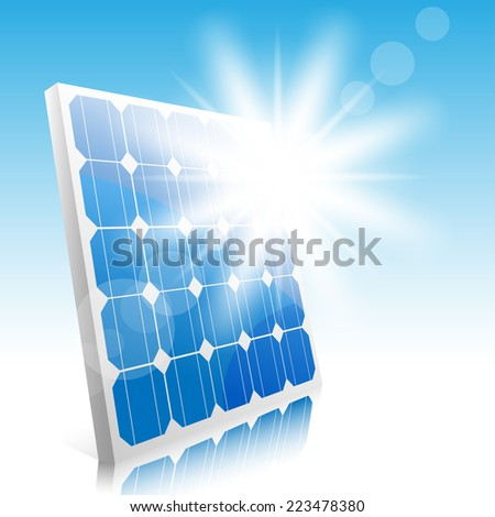 Sun and solar panels. Illustration. Vector. - stock vector
