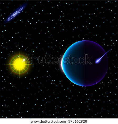 Sun and Space. Abstract Space background for design. Stock vector