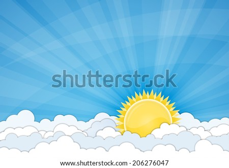 Sun and white clouds over blue sky. Vector illustration