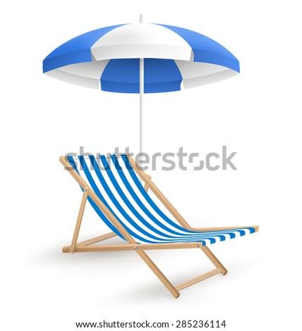 Sun Beach Umbrella With Beach Chair Isolated On White Background