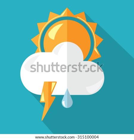 Sun behind the thunderstorm rainy cloud - stock vector