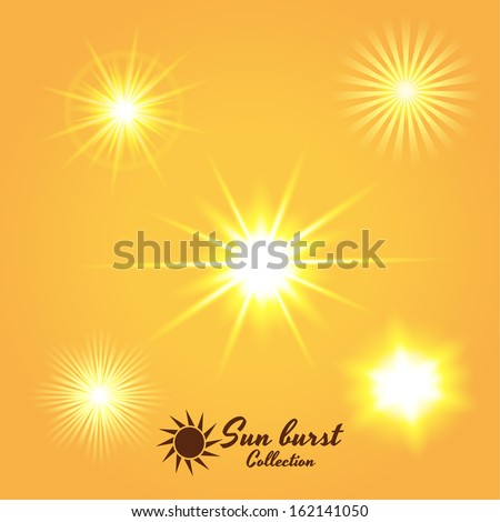 Sun bursts collection. Vector eps10 - stock vector