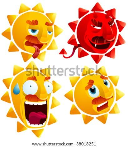 sun cartoon - stock vector