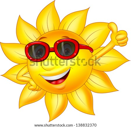 Sun cartoon character with thumb up - stock vector