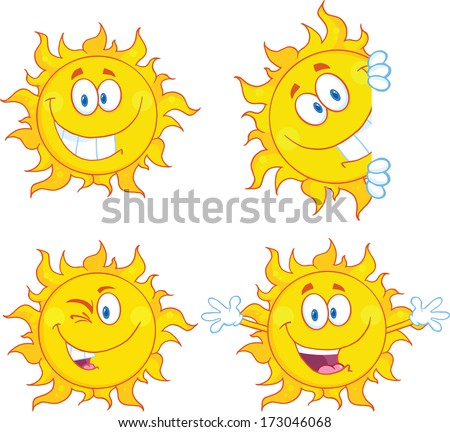 Sun Cartoon Mascot Characters 3. Vector Collection Set - stock vector