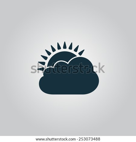 Sun cloud icon. Flat web icon, sign or button isolated on grey background. Collection modern trend concept design style vector illustration symbol - stock vector
