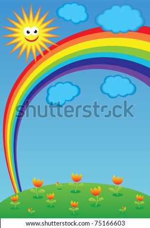 Sun, clouds, flowers and rainbow, vector